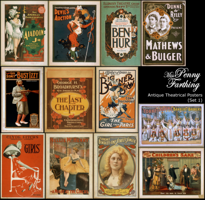 VIntage Poster Collage - Antique Theater Posters